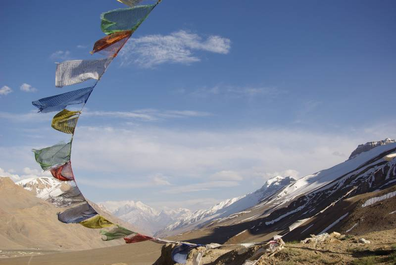 Prayer flags on a hill near Kaza.